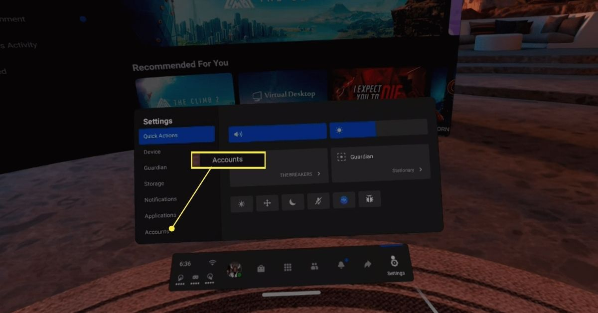 Accounts in the Settings sidebar on Oculus Quest 2.
