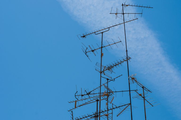 TV Antennas against Blue Sky