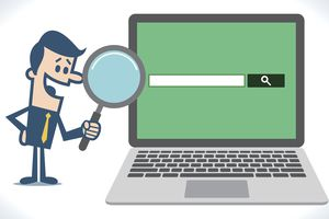 An illustration of a man using a web search engine.