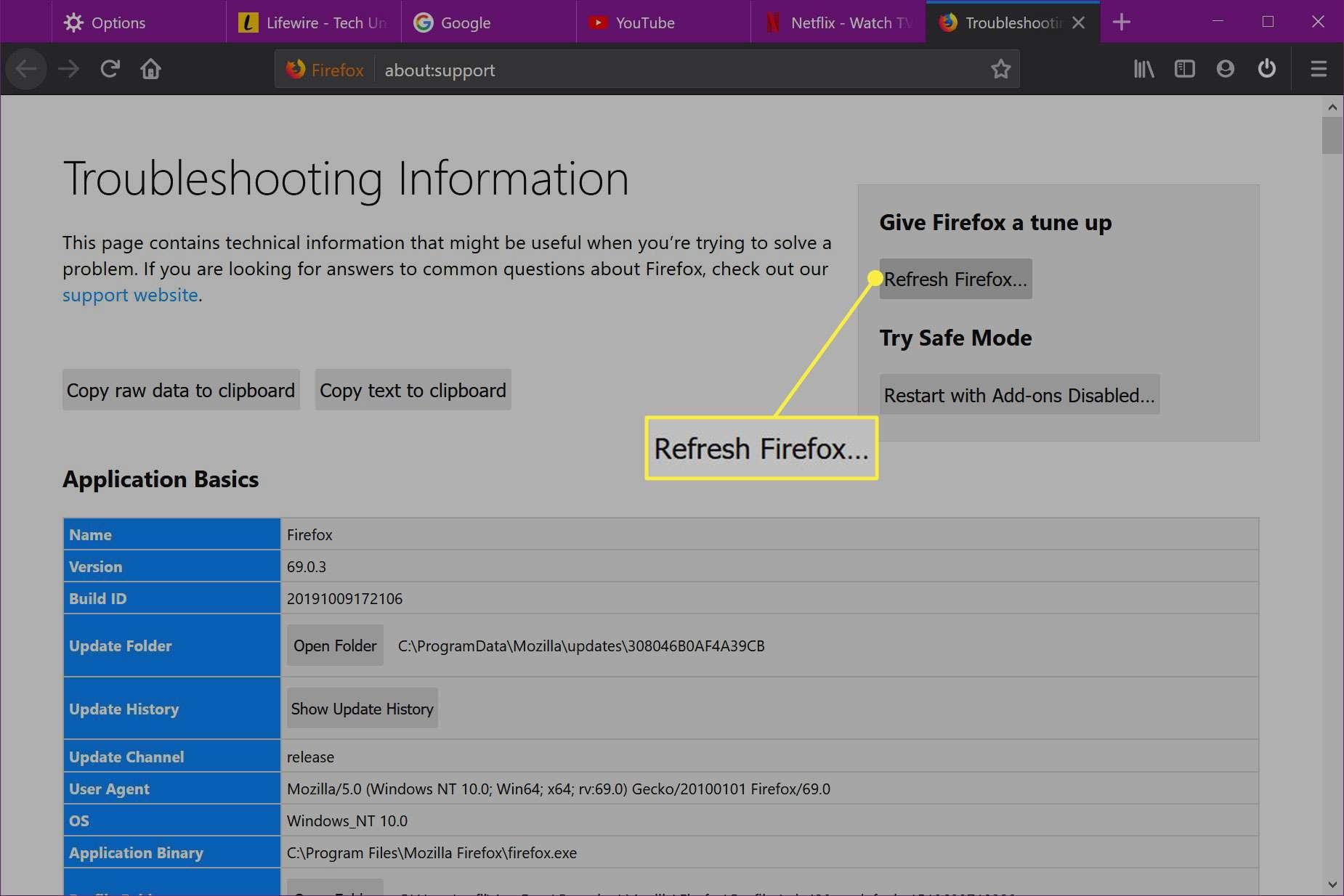 The Refresh Firefox button