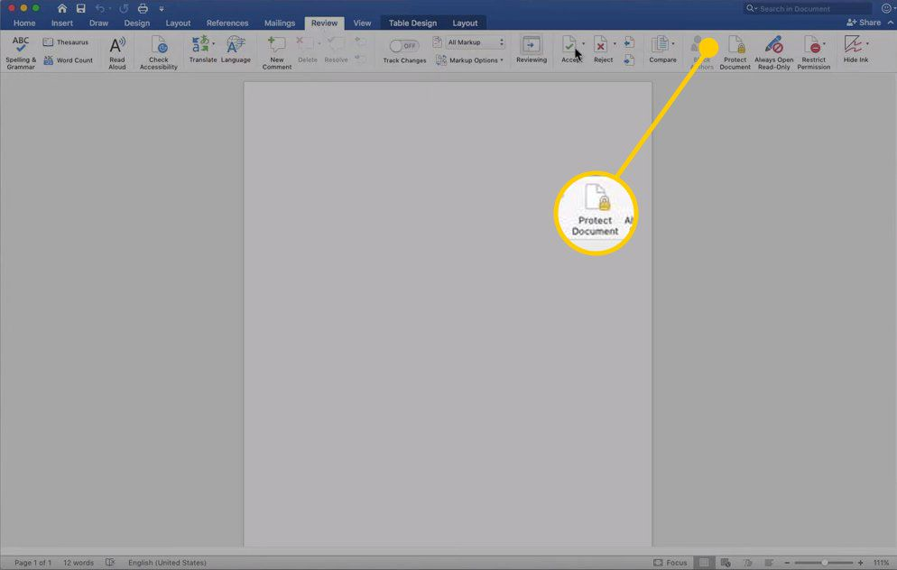Protect Document in Word for Mac