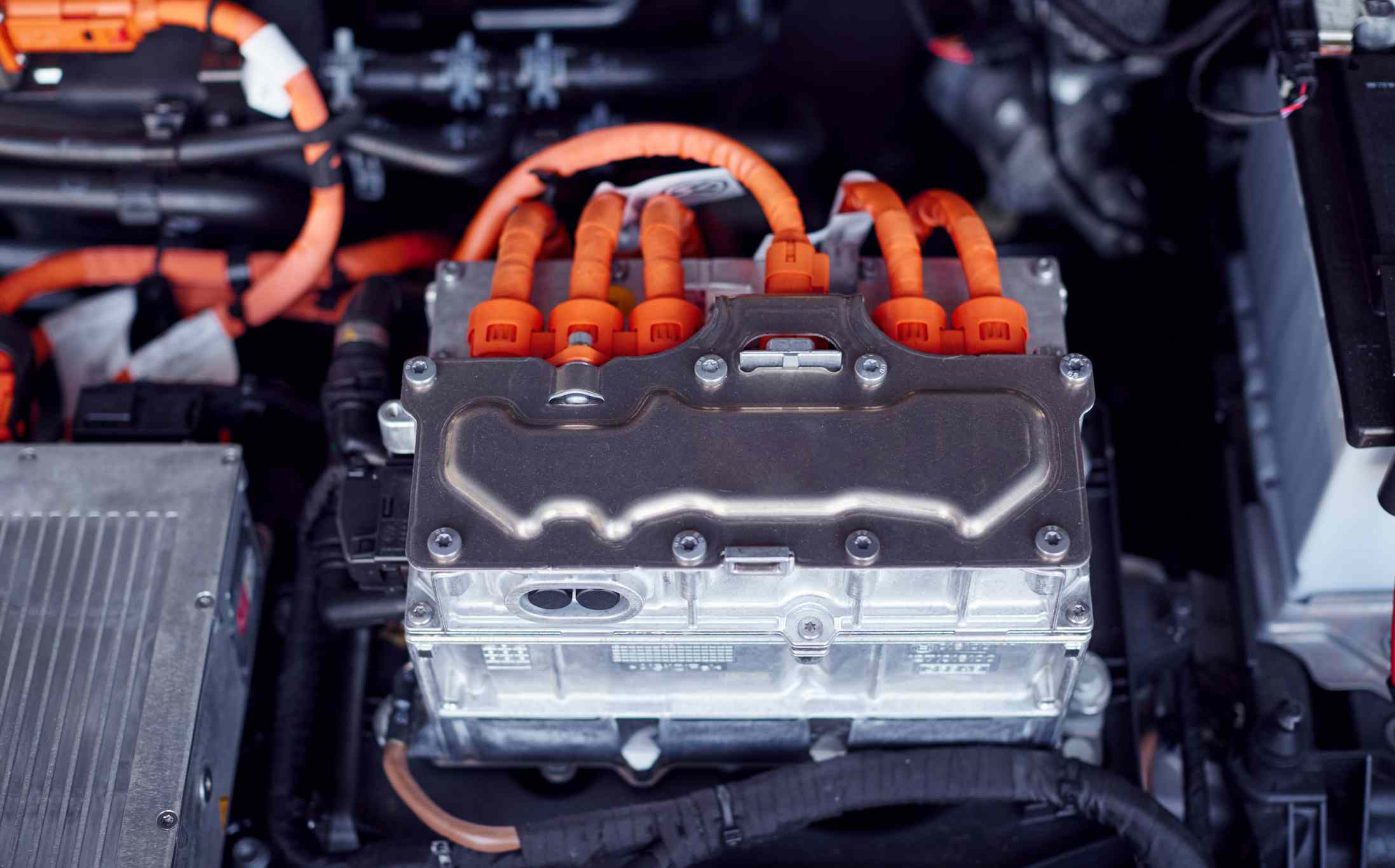 Close Up Of Electric Motor In Engine Bay Of Electric Car