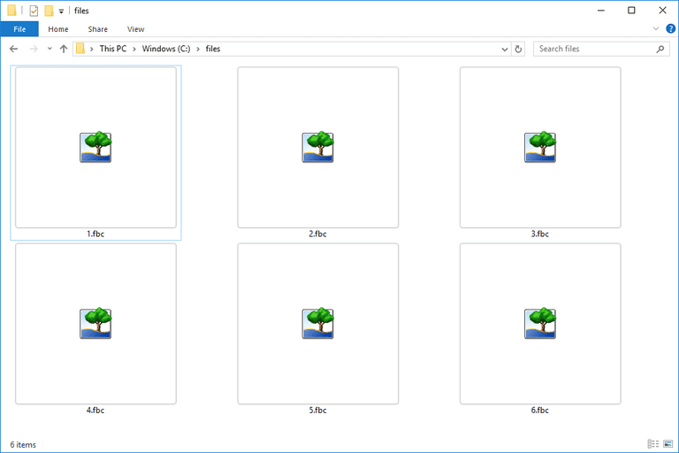 Screenshot of several FBC files in Windows 10