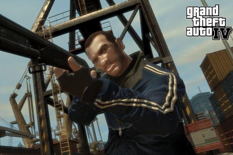 Screenshot of Man holding shotgun in Grand Theft Auto IV