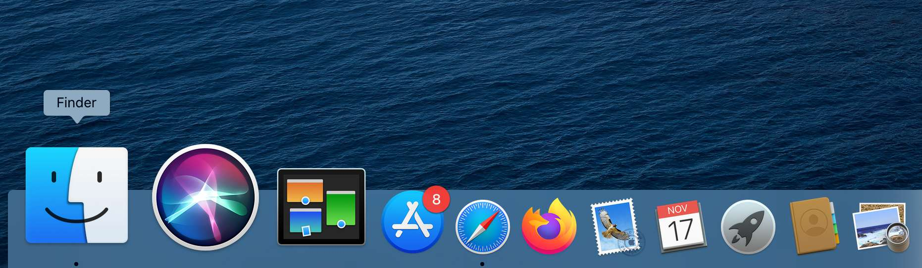 Mac Dock showing the Finder