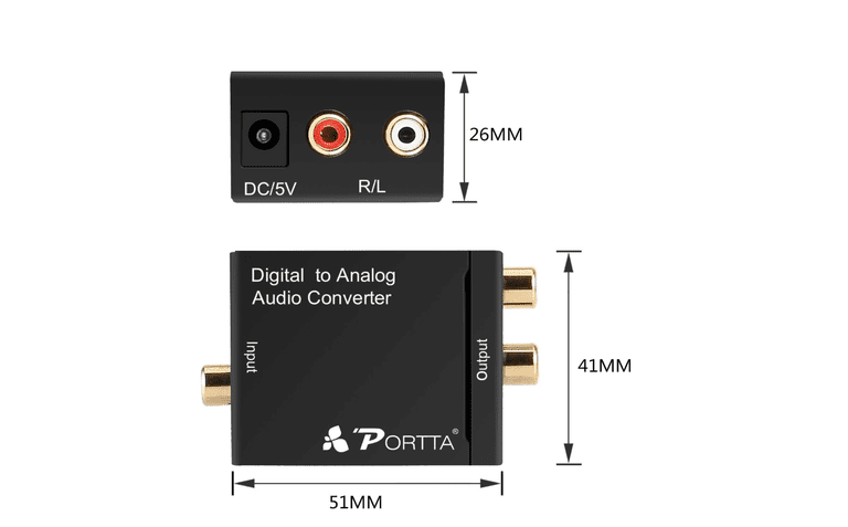 Portta Digital Coaxial Toslink to Analog (L/R) Audio Converter