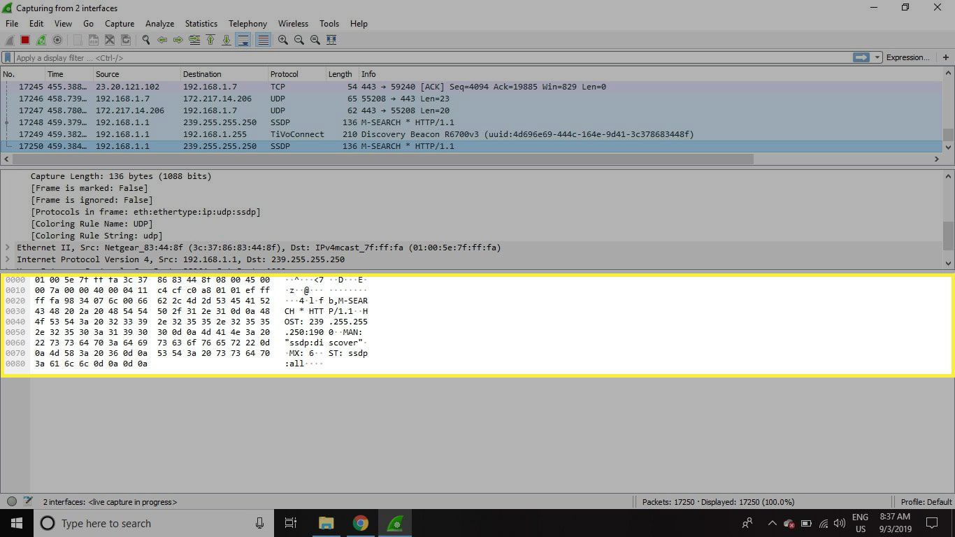 A screenshot of Wireshark with the Packet Bytes panel highlighted
