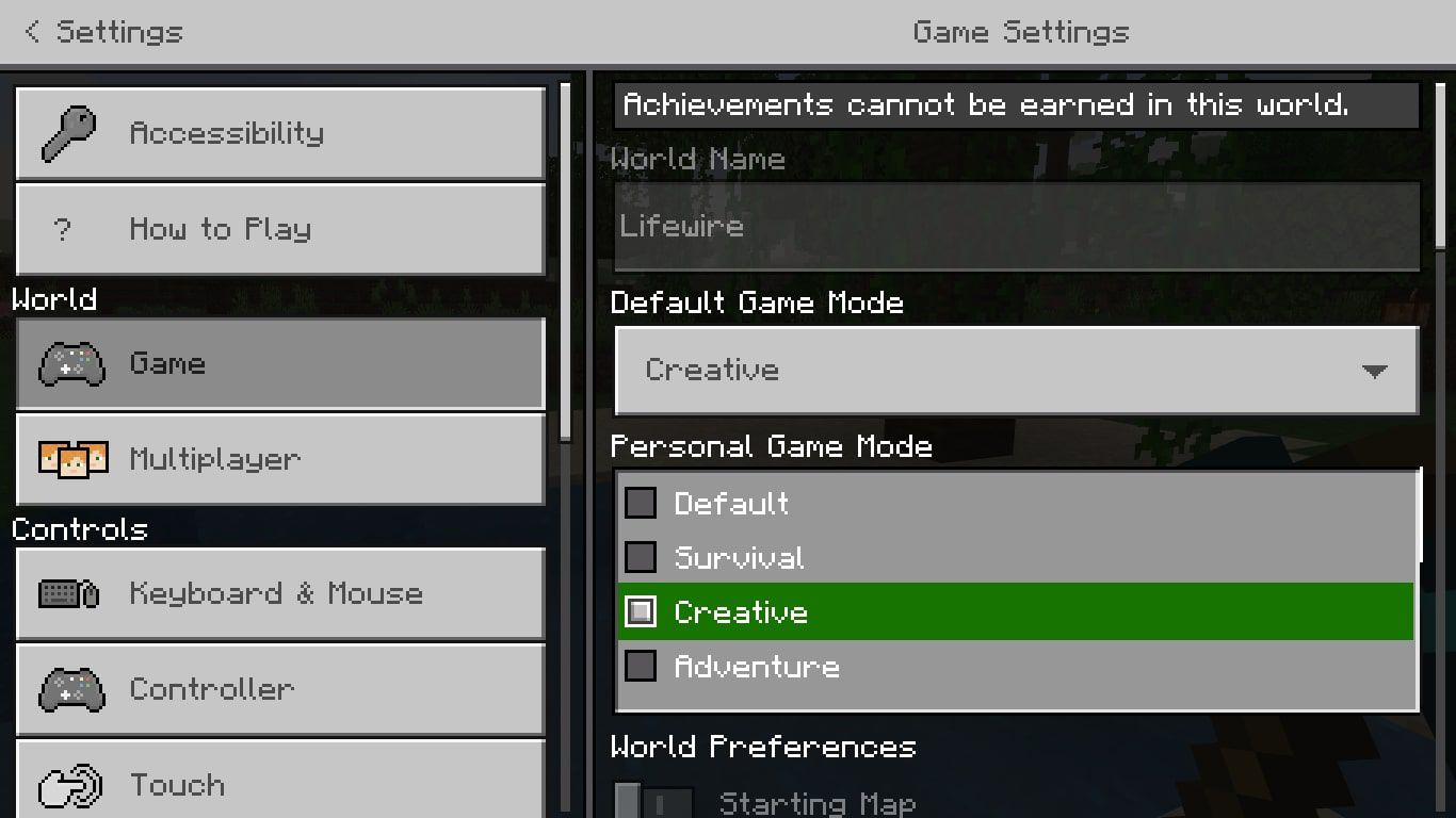 Personal Game Mode options in Minecraft settings