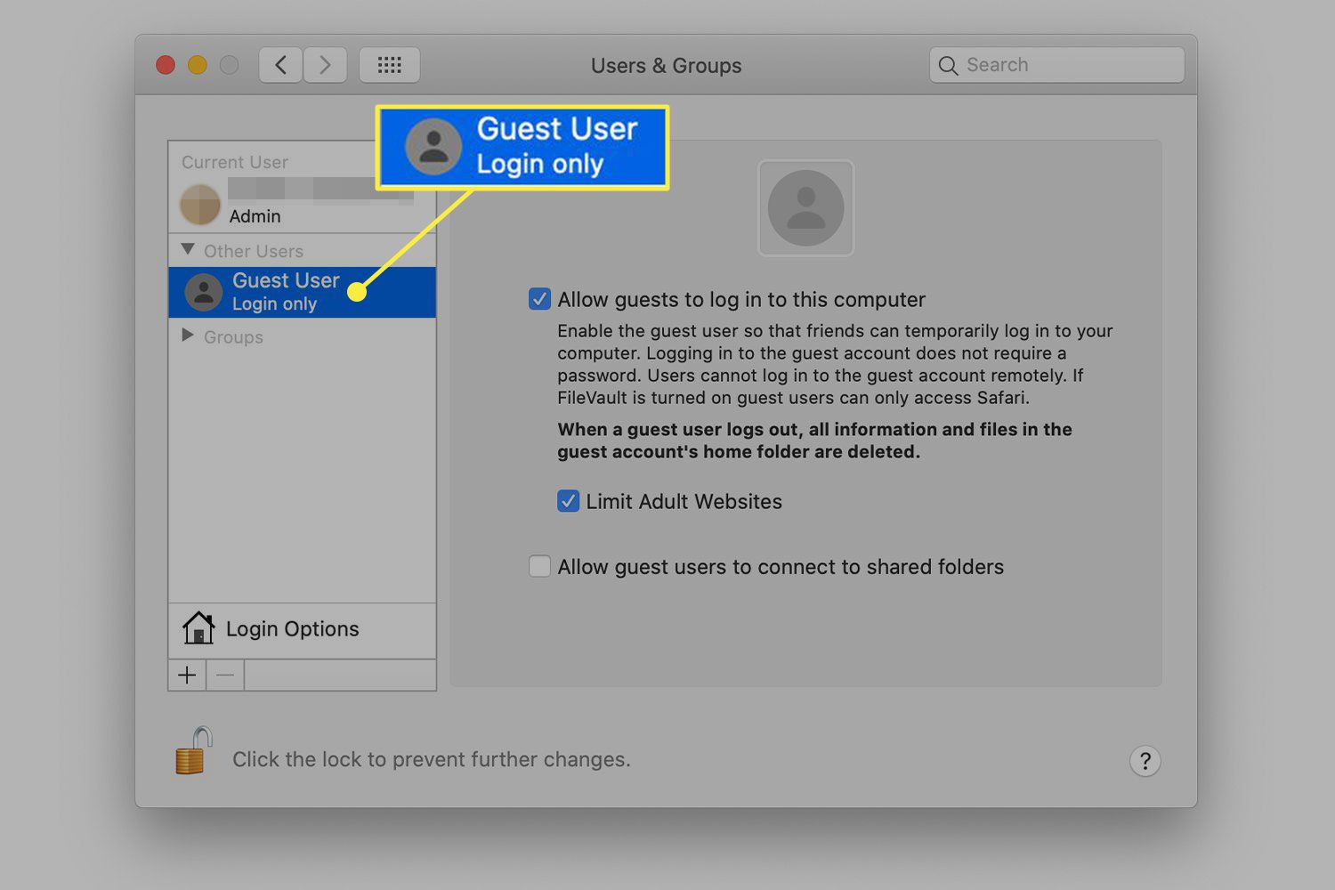 A screenshot of the Users & Groups window in macOS with the Guest User item highlighted