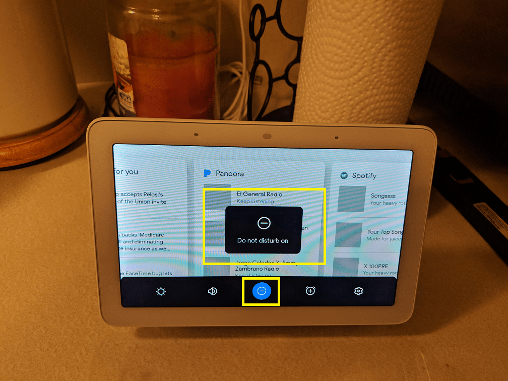 How to access Do Not Disturb on Google Home Hub.