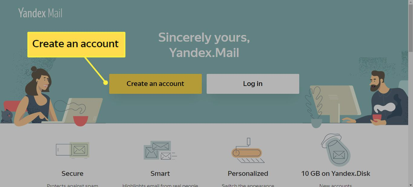 Yandex Mail home page with the Create an Account button highlighted