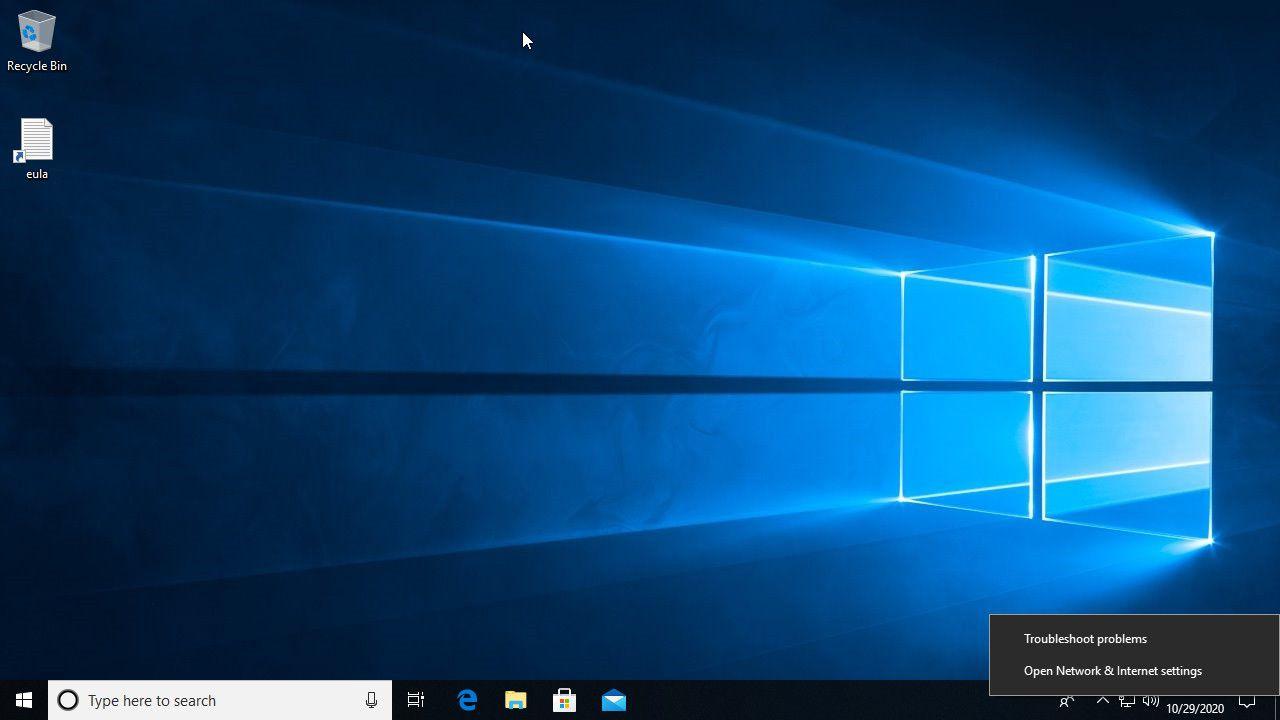Windows 10 right-click network status