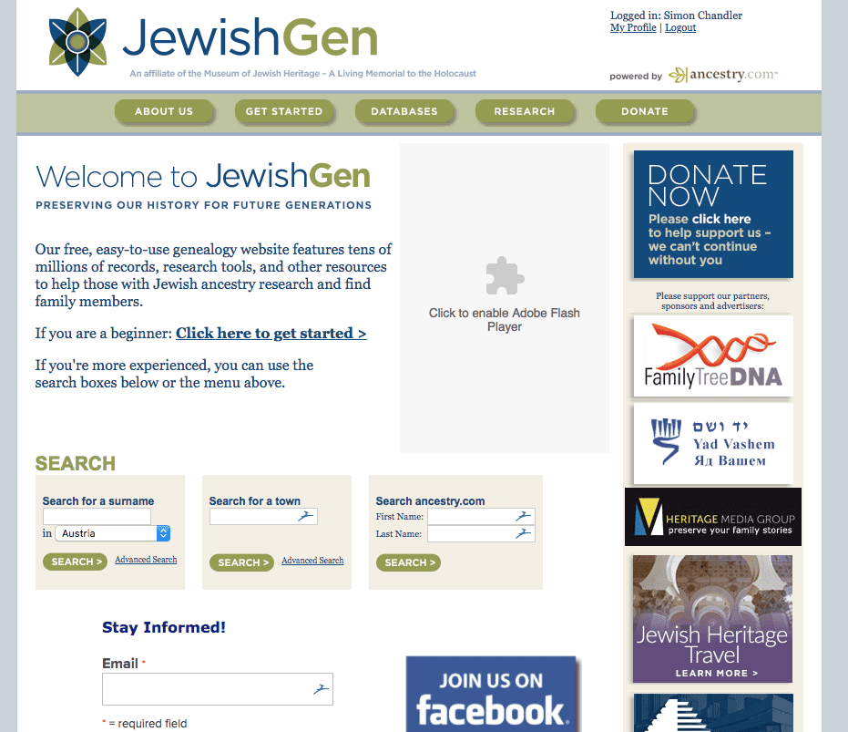 JewishGen homepage screenshot
