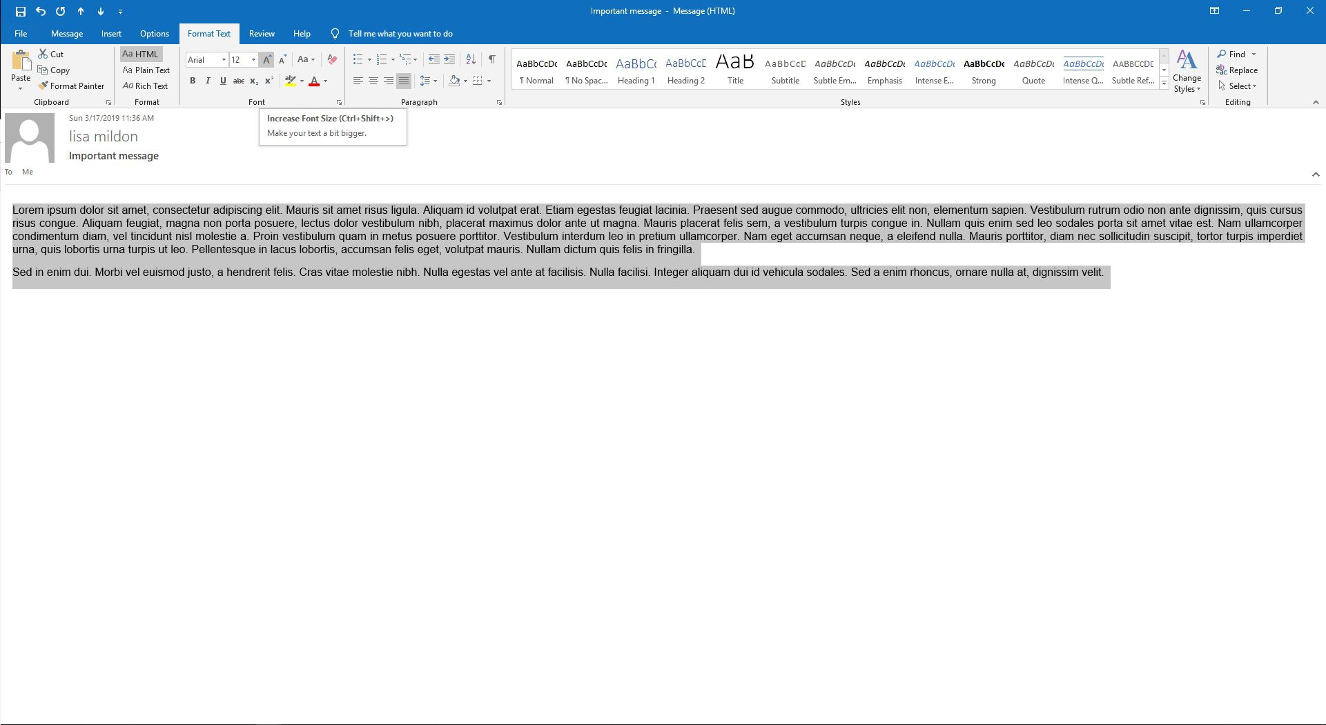 How to Print an Outlook Email in a Different Font Size