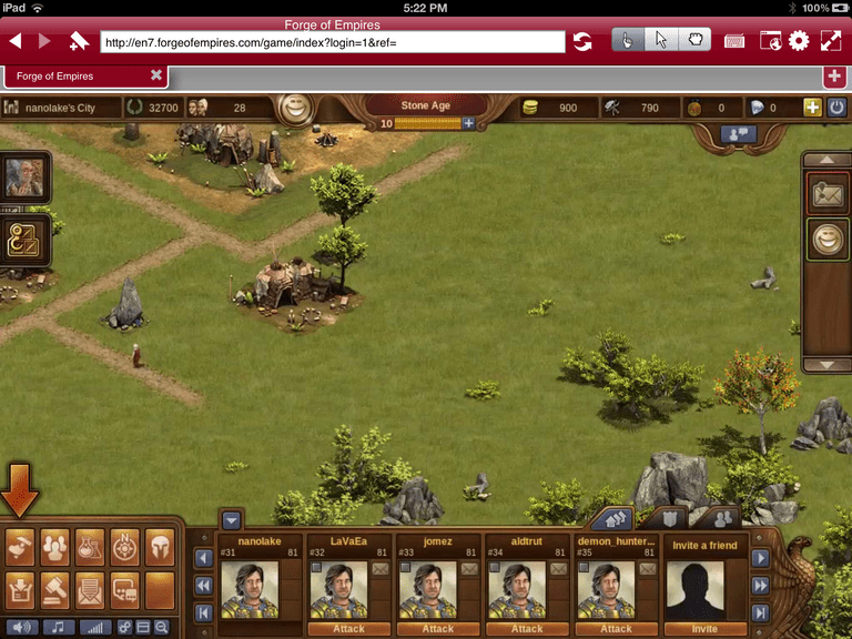 Screenshot of Frorge of Empires on iPad using Photon Flash