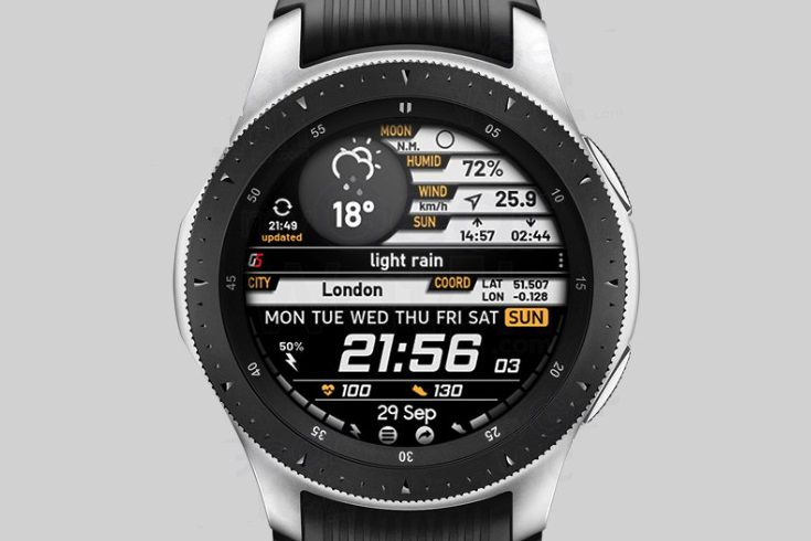 The GS Weather 4 watch face on a Samsung Galaxy watch