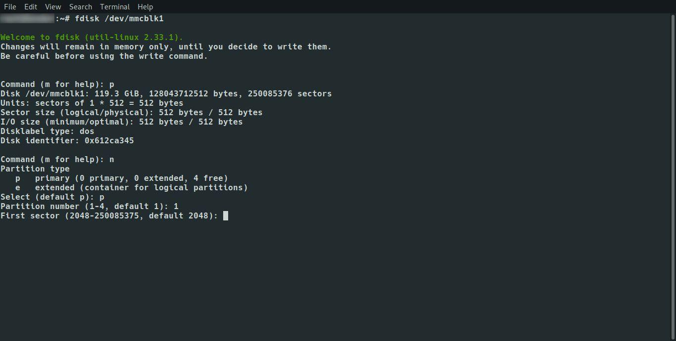 Linux fdisk set first sector