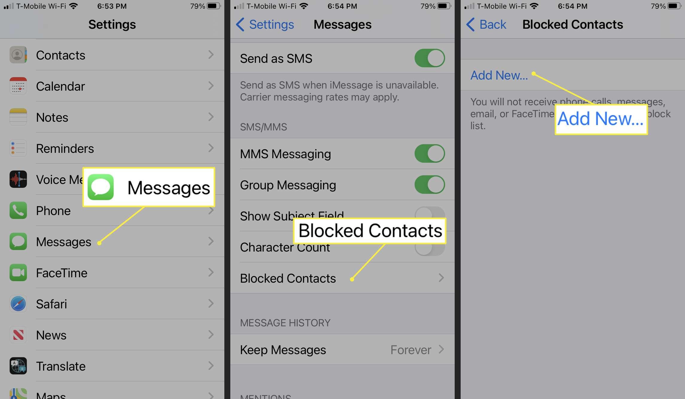 Adding new blocked contact