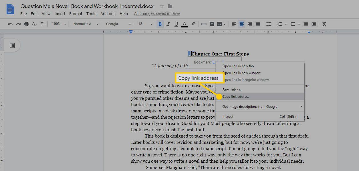 The Copy link address option in Google Docs.