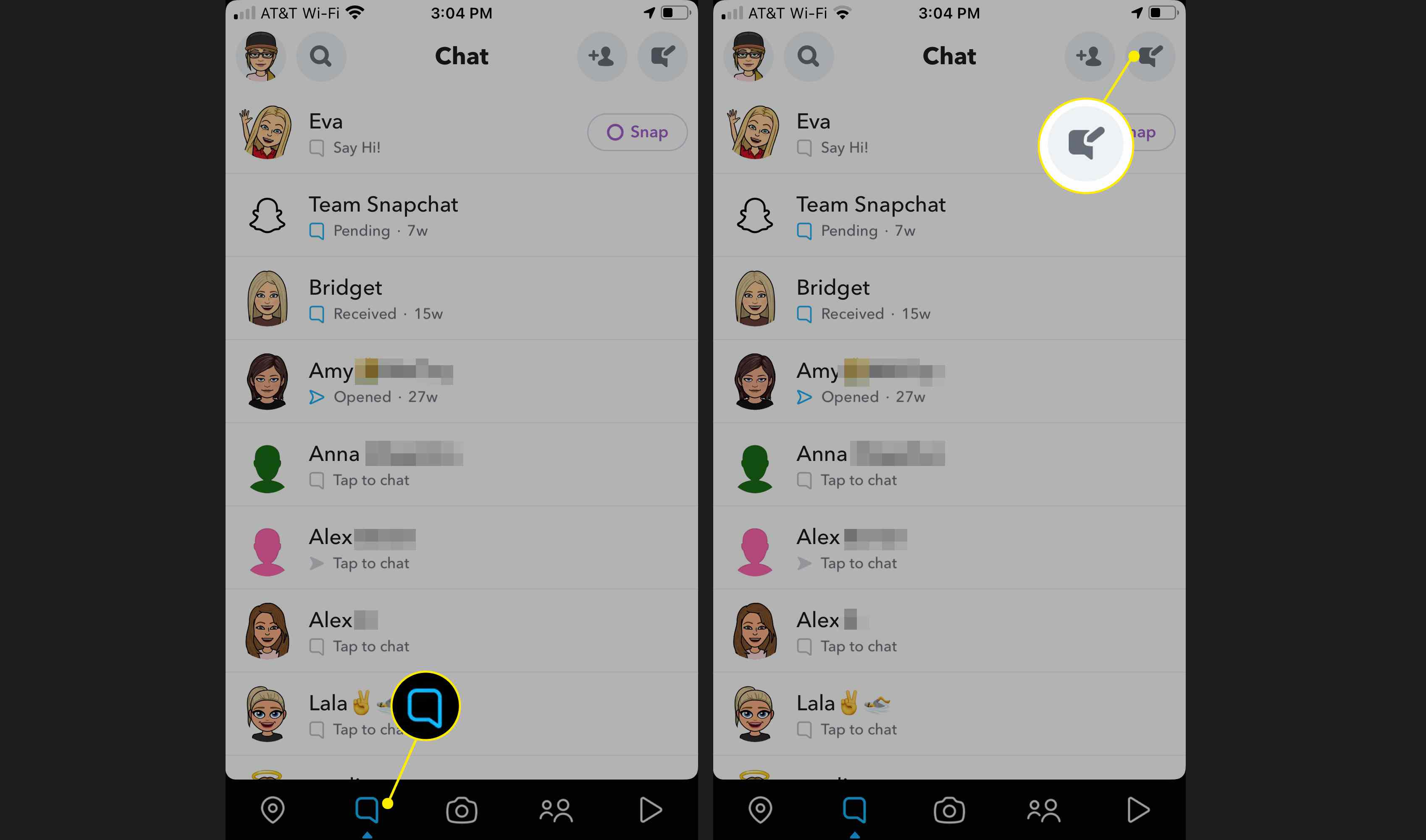 Select the Chats tab and Compose icon in Snapchat