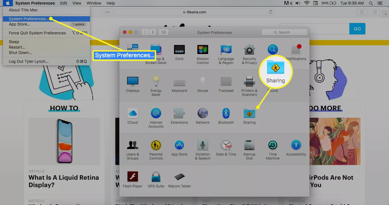 System Preferences selected and Sharing icon highlighted