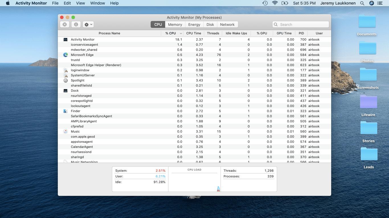 A screenshot of Activity Monitor.