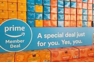 Prime Member Deal sign on sparkling water boxes