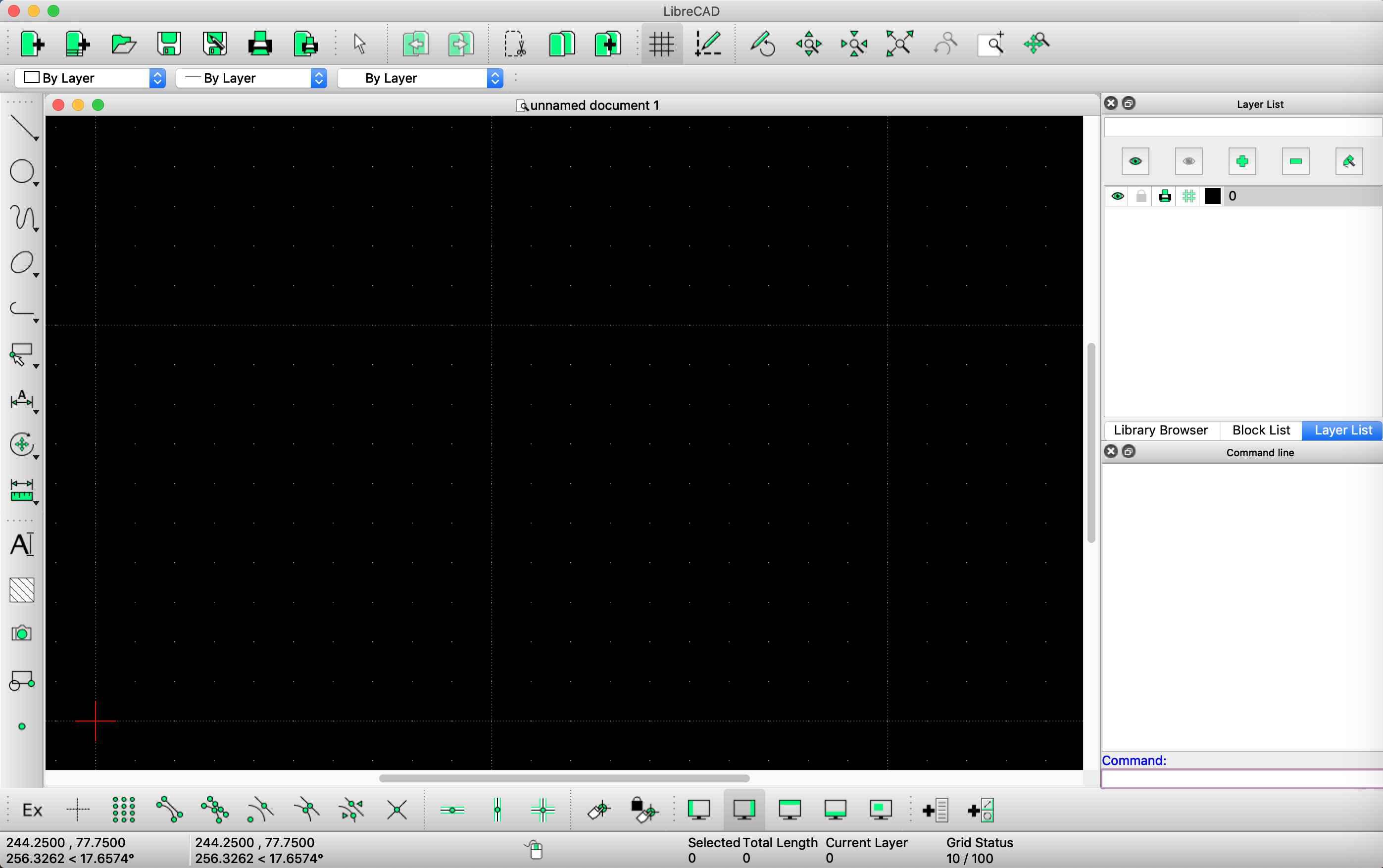 LibreCAD screenshot on macOS