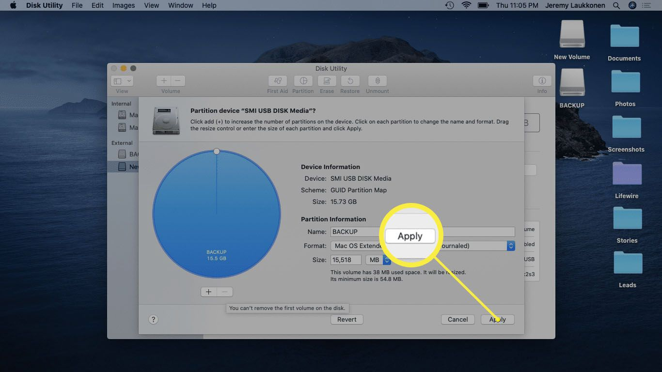 A screenshot of removing a partition on Mac.