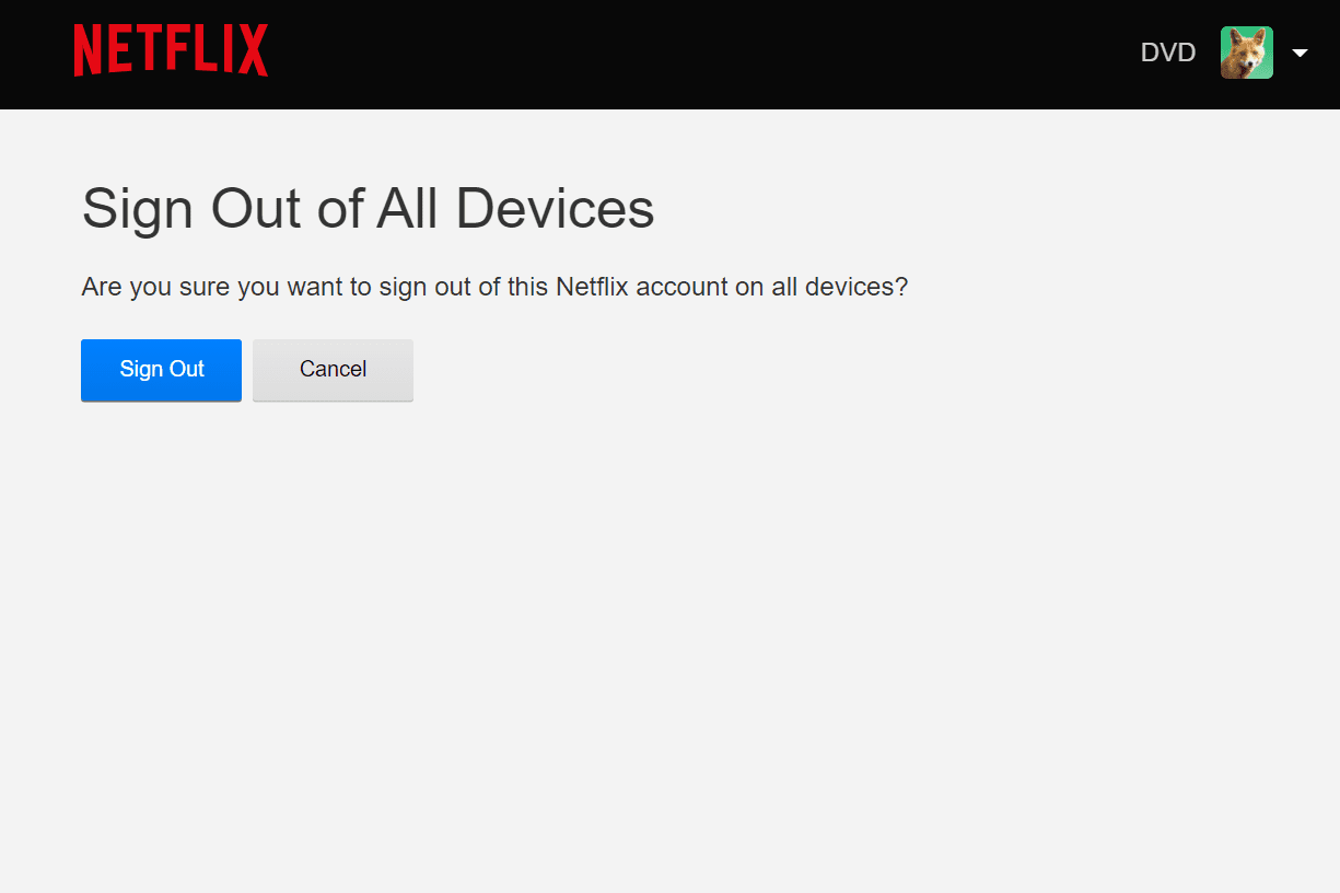 Netflix sign out of all devices screen
