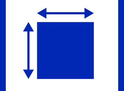 Illustration of a resizing of an object in the color blue.
