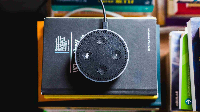 Amazon Echo Dot sitting on a stack of books.