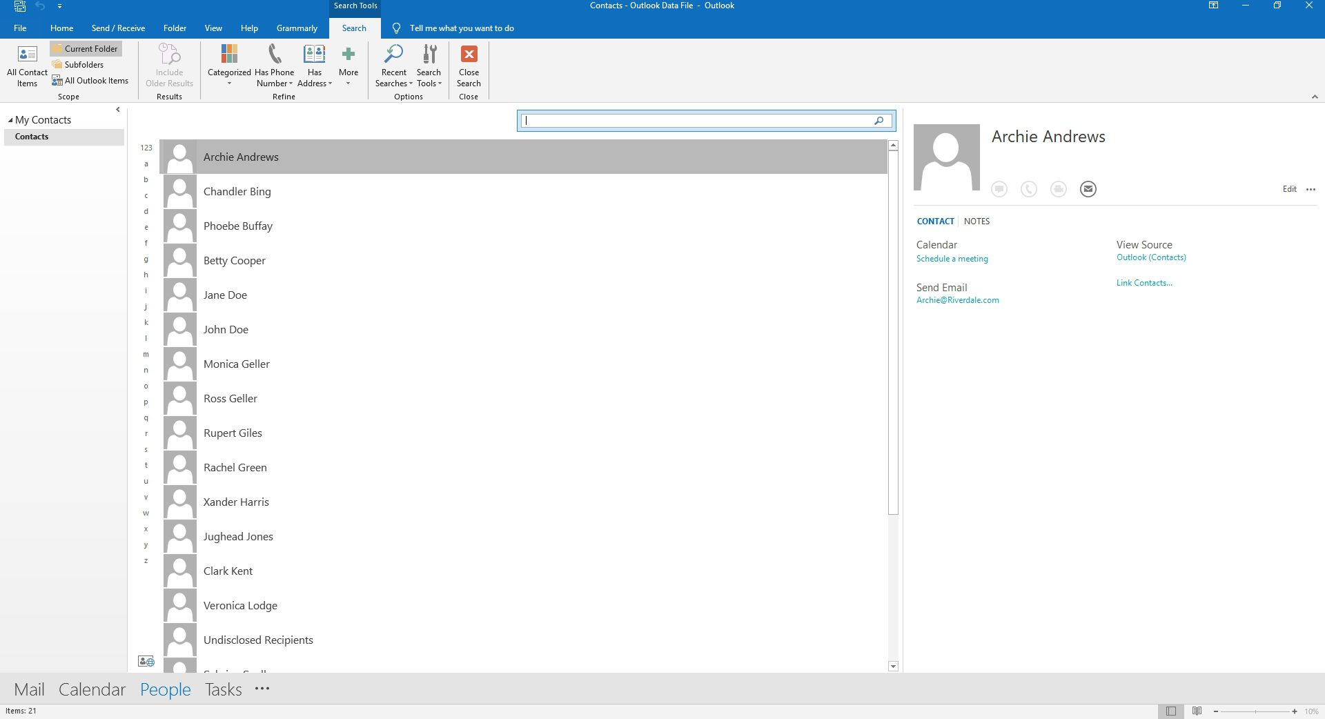 Searching Contacts in Outlook