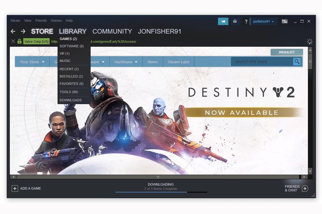 Steam library menu options