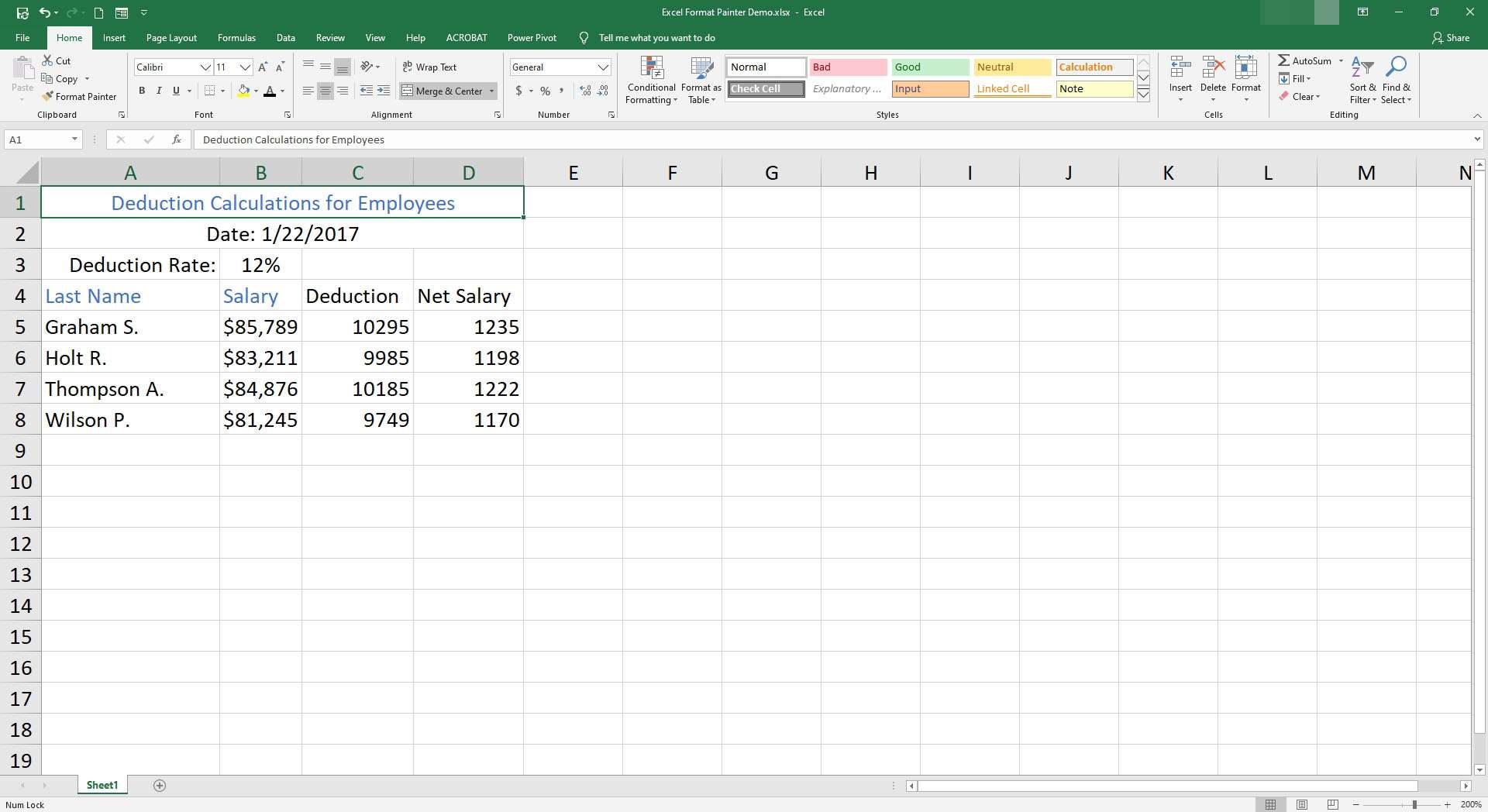 Data entered into Excel.