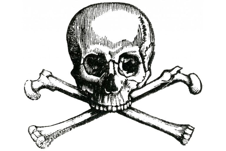 black and white drawing of a skull and crossbones