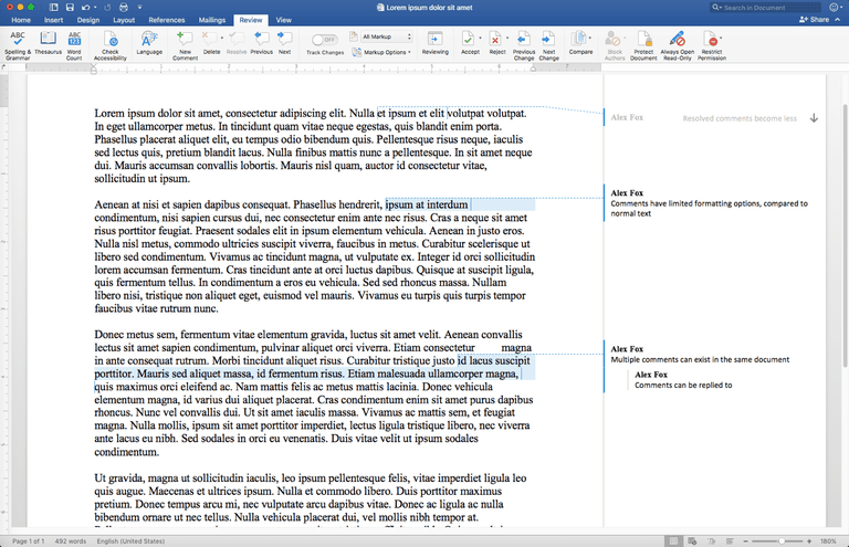 Comment functionality within Microsoft Word