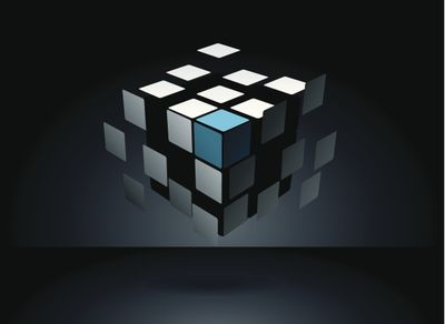 A puzzle cube's tiles separated