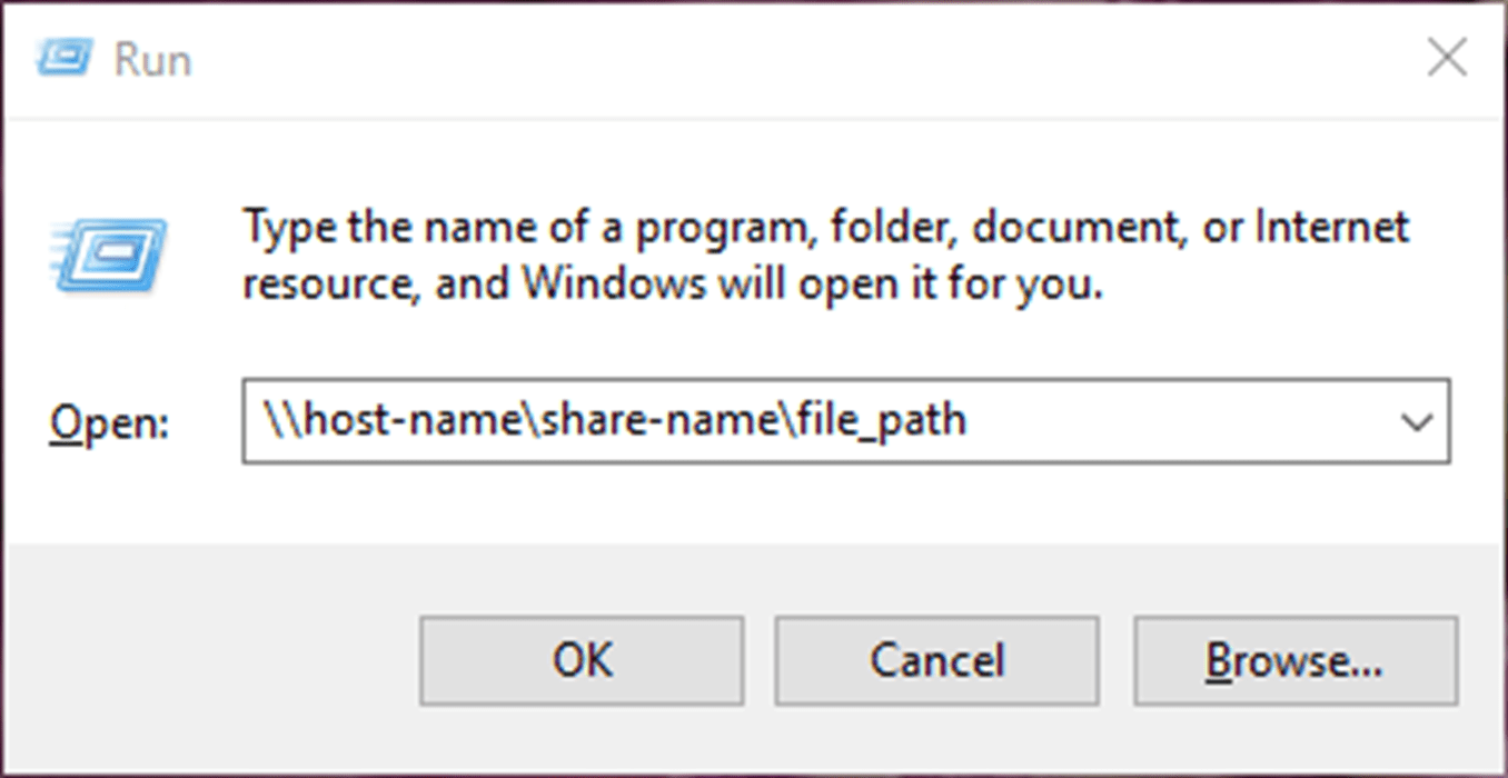 A screenshot of the UNC showing a host device name, a share name, and an optional file path.