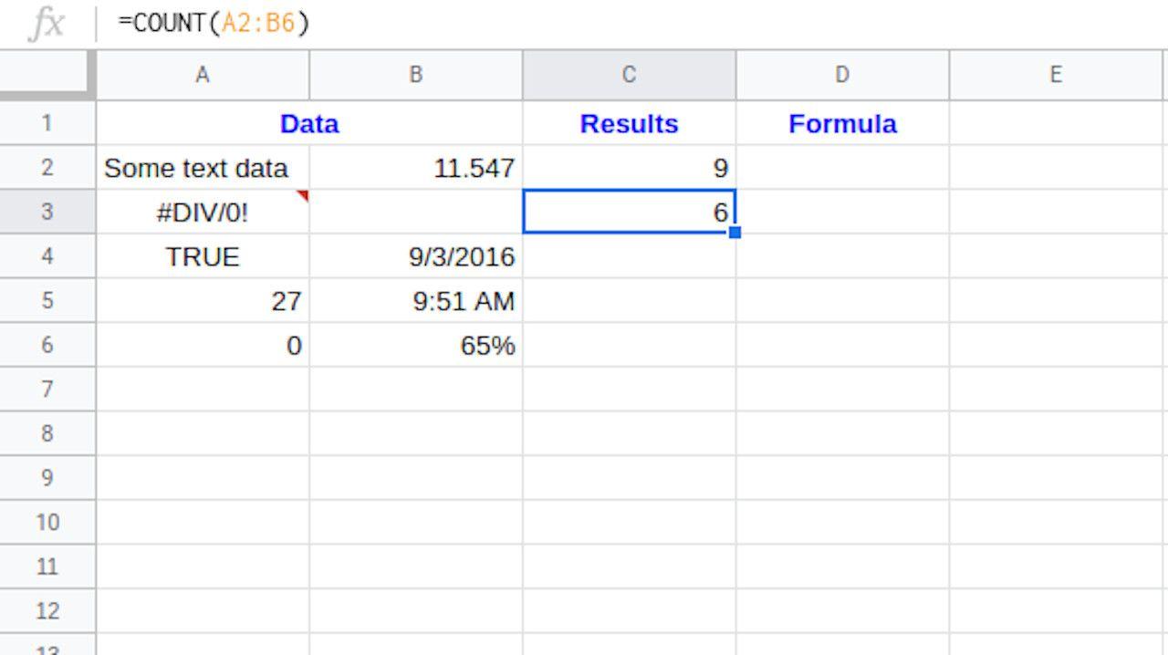 Google Sheets COUNT formula