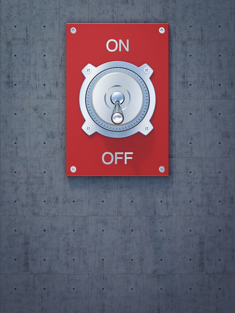 Red flip switch, on, off, 3D Rendering