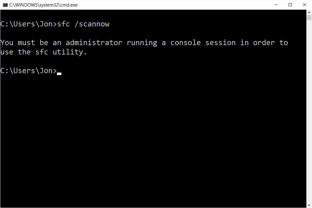 sfc scannow elevated prompt message
