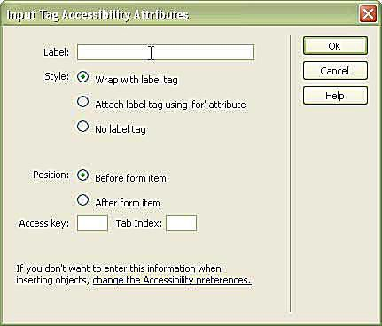 Options window for the input tag accessibility attributes