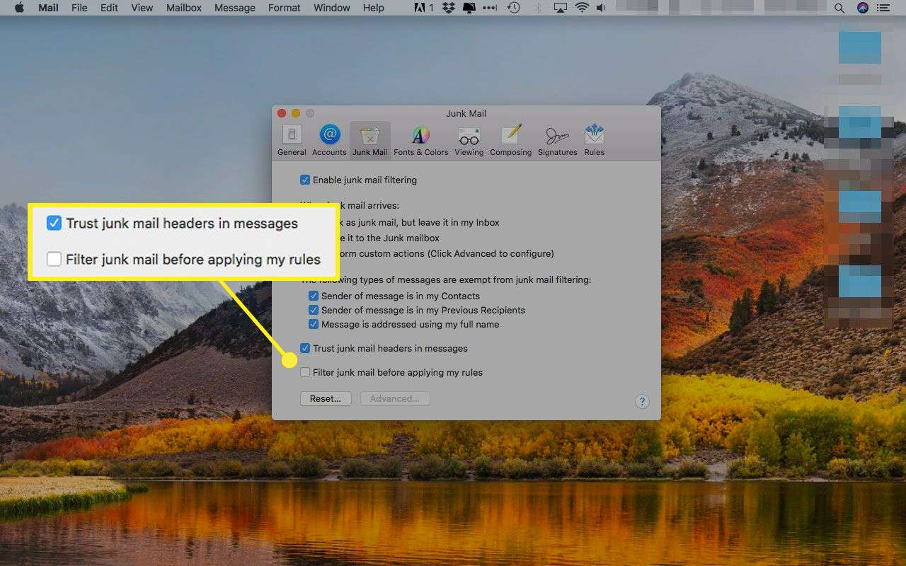 Junk Mail preferences in Apple Mail with extra filtering options highlighted