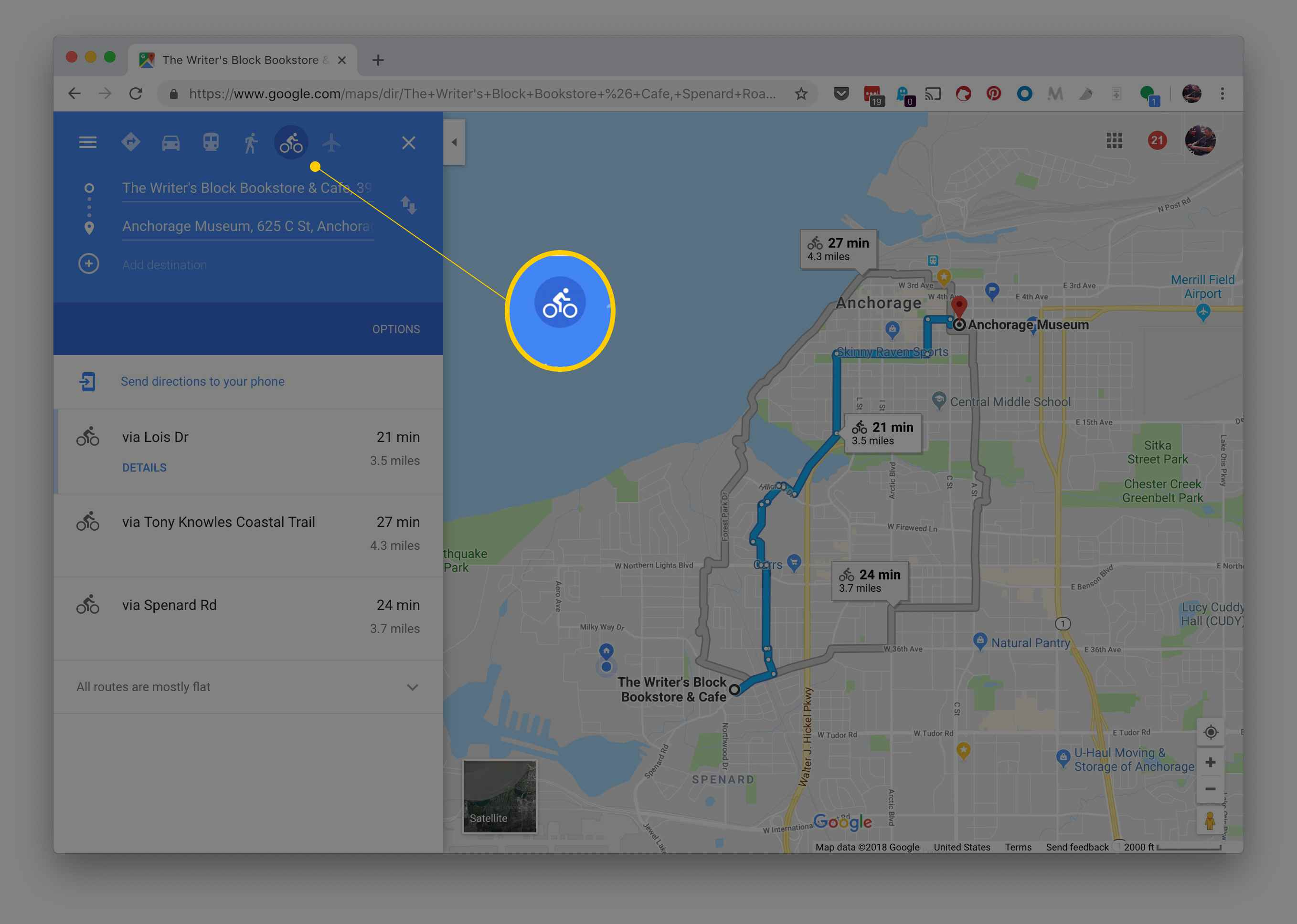 The bicycling directions button in Google Maps