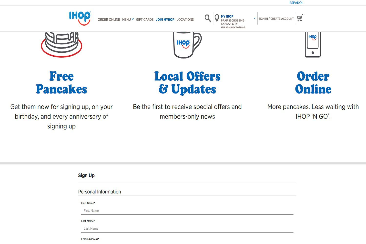 A screenshot of IHOP's MyHop sign-up webpage. Customers who sign up for MyHop can get free pancakes just for signing up.