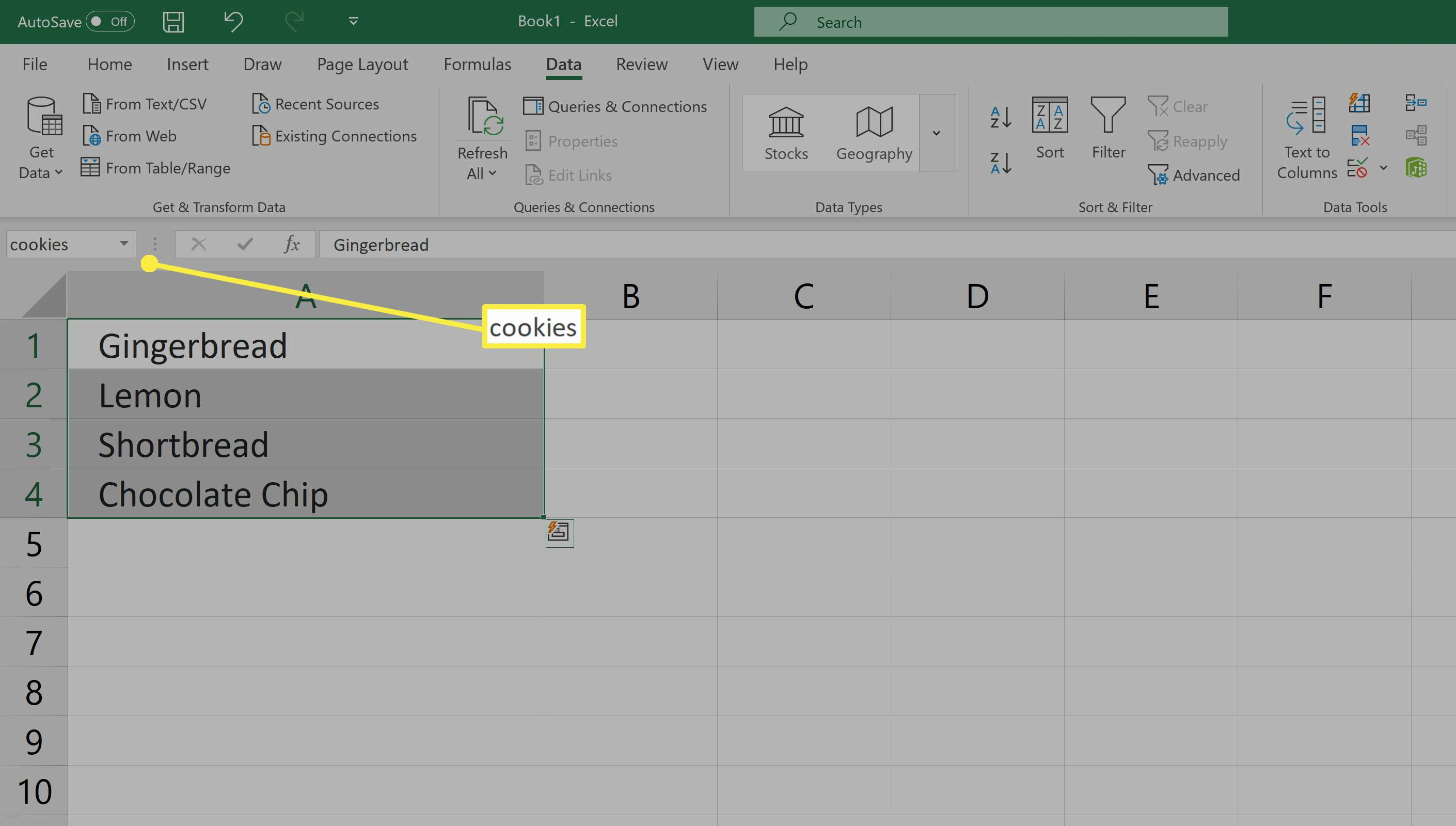 Creating a drop-down list in Excel