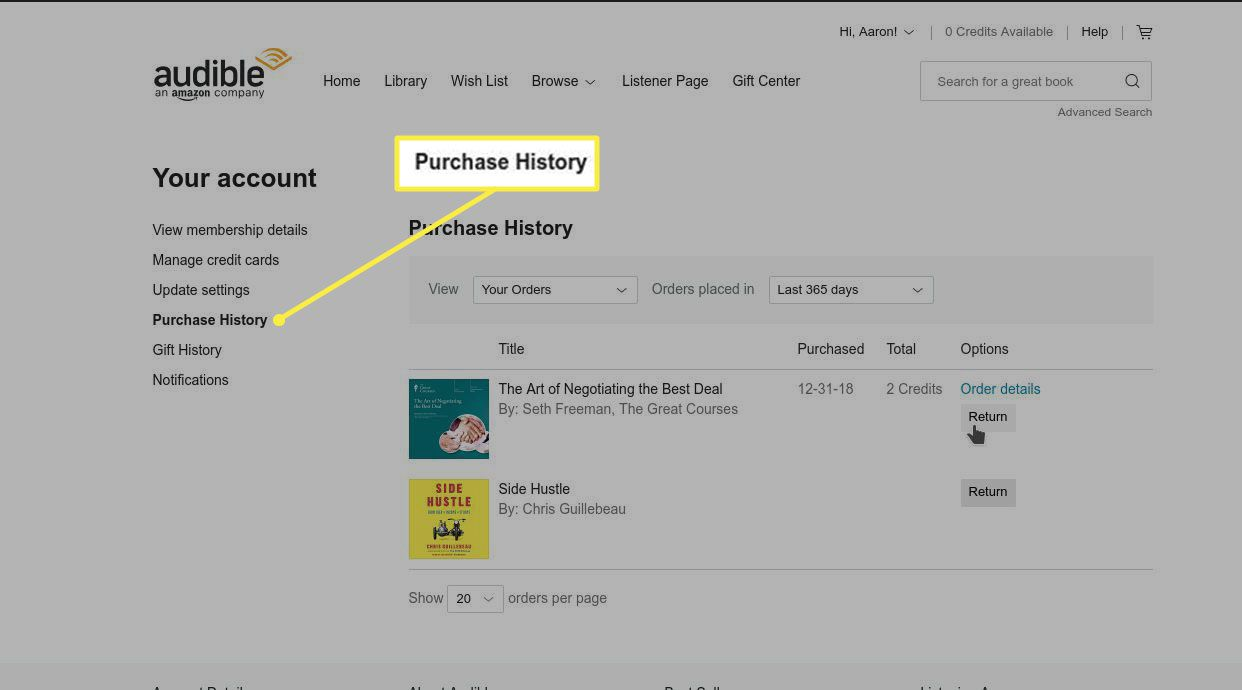 Selecting Purchase History.