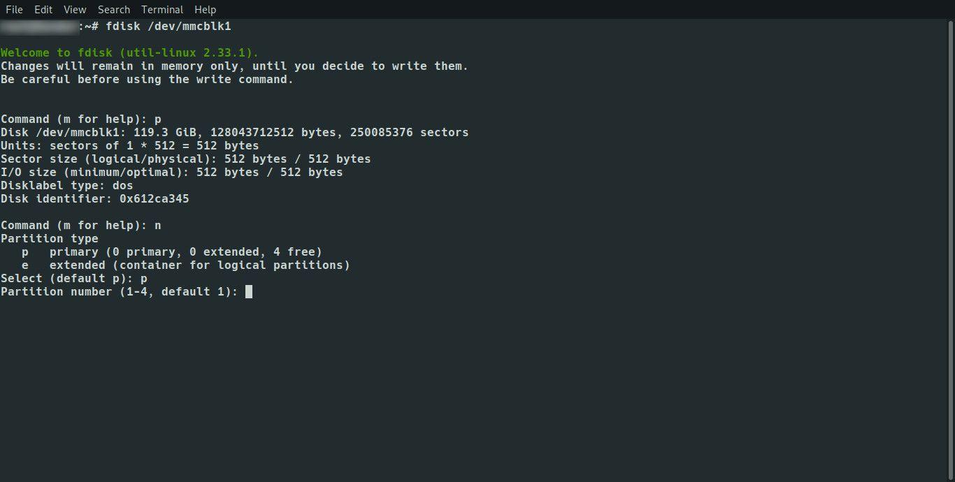 Linux fdisk set partition number