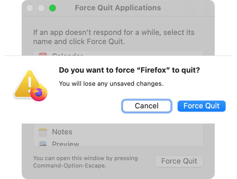 Click Force Quit to close the selected app